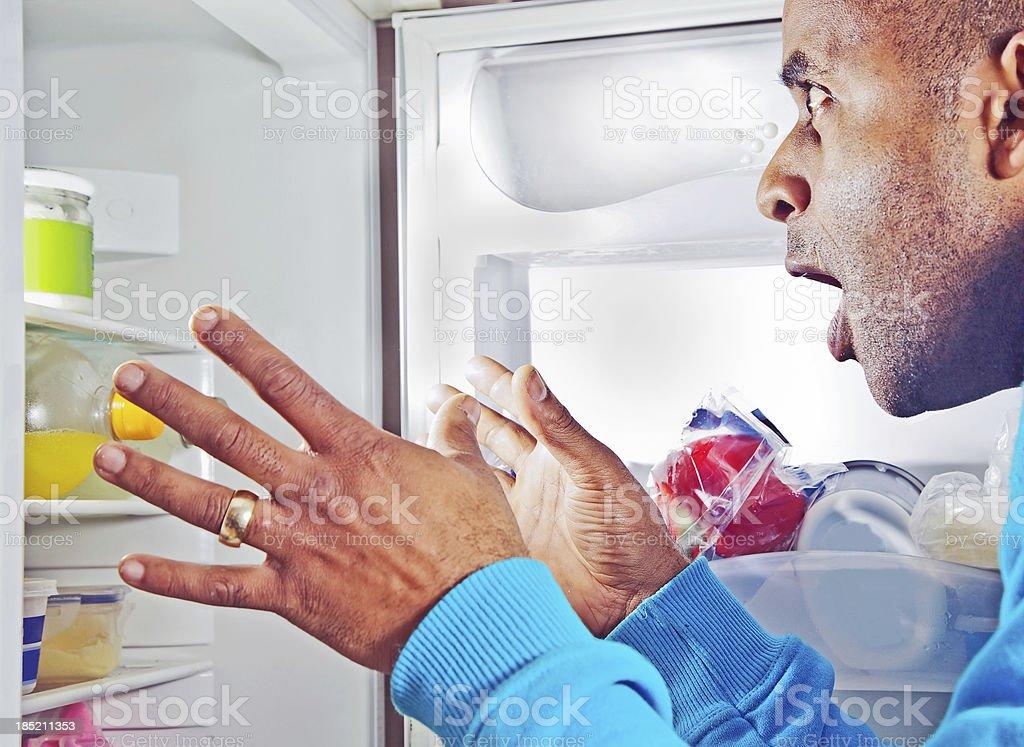 Suprise in the fridge stock photo