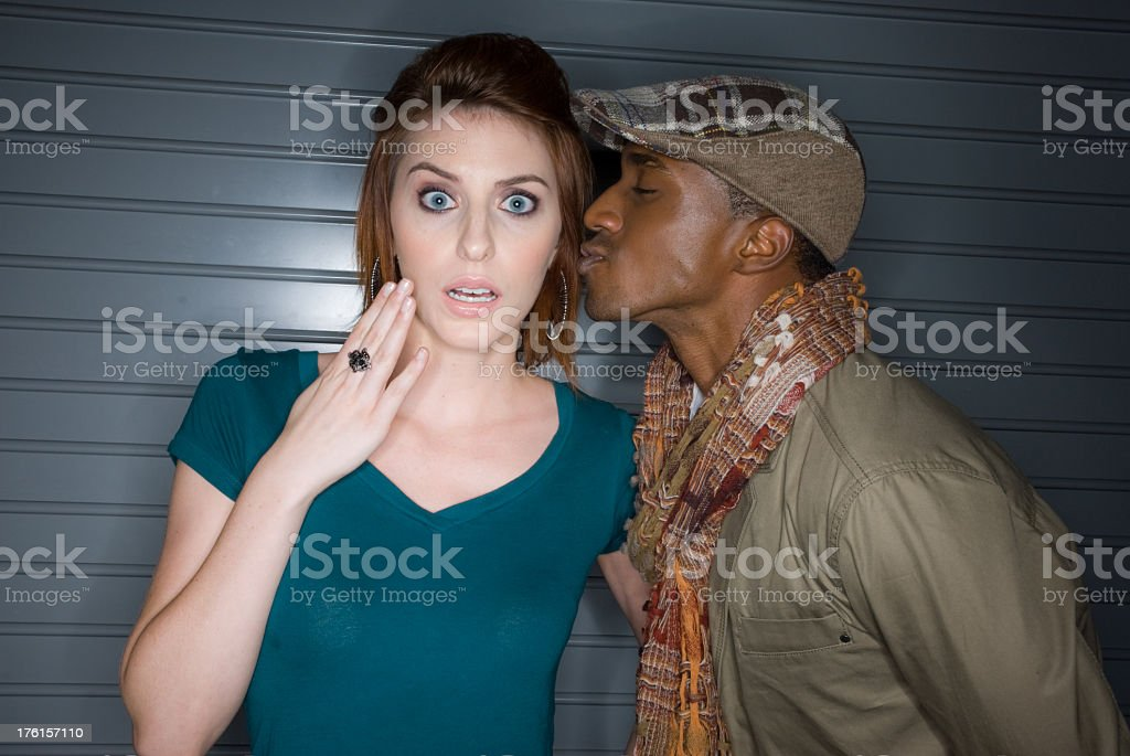 suprised kiss stock photo