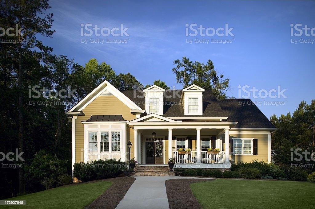 Surburban House Exterior at dusk stock photo