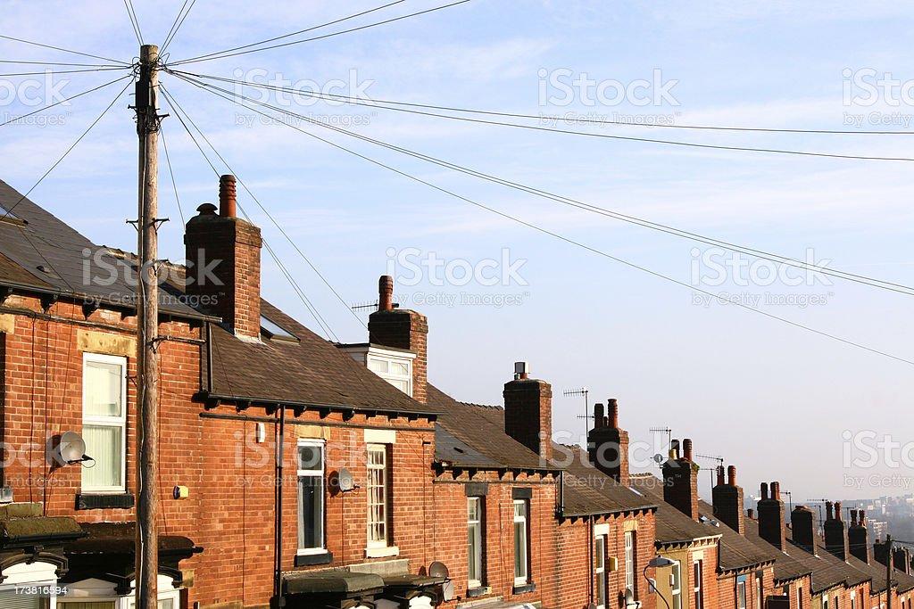 Surburban terraced houses, Sheffield, England stock photo