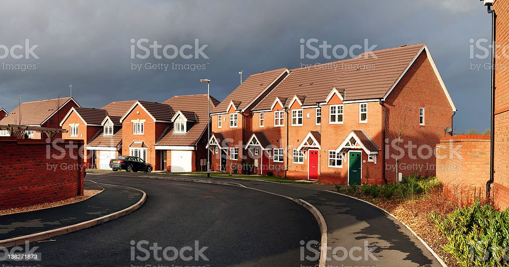 surburbia housing estate panoramic stock photo