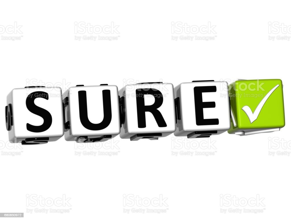 3D Sure Button Click Here Block Text royalty-free stock photo