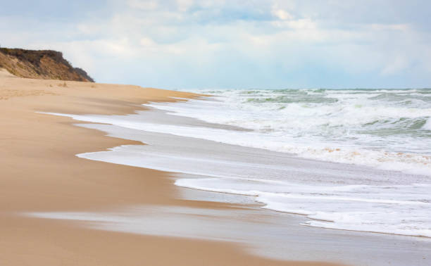 Surf and Beach along the Cape Cod National Seashore Nauset Beach, Cape Cod National Seashore, Massachusetts cape cod stock pictures, royalty-free photos & images