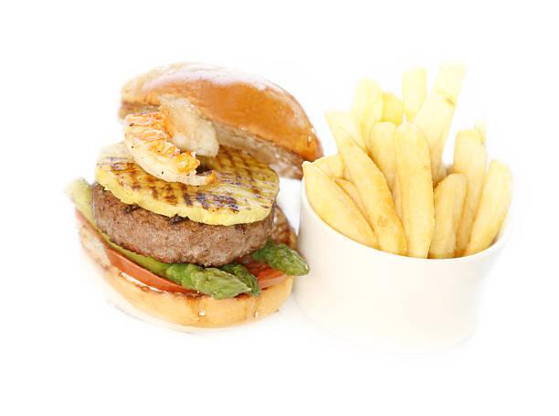 surf and turf burger stock photo