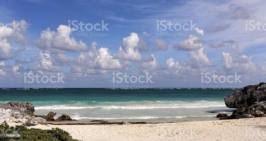 Surf at a Perfect Caribbean Beach stock photo