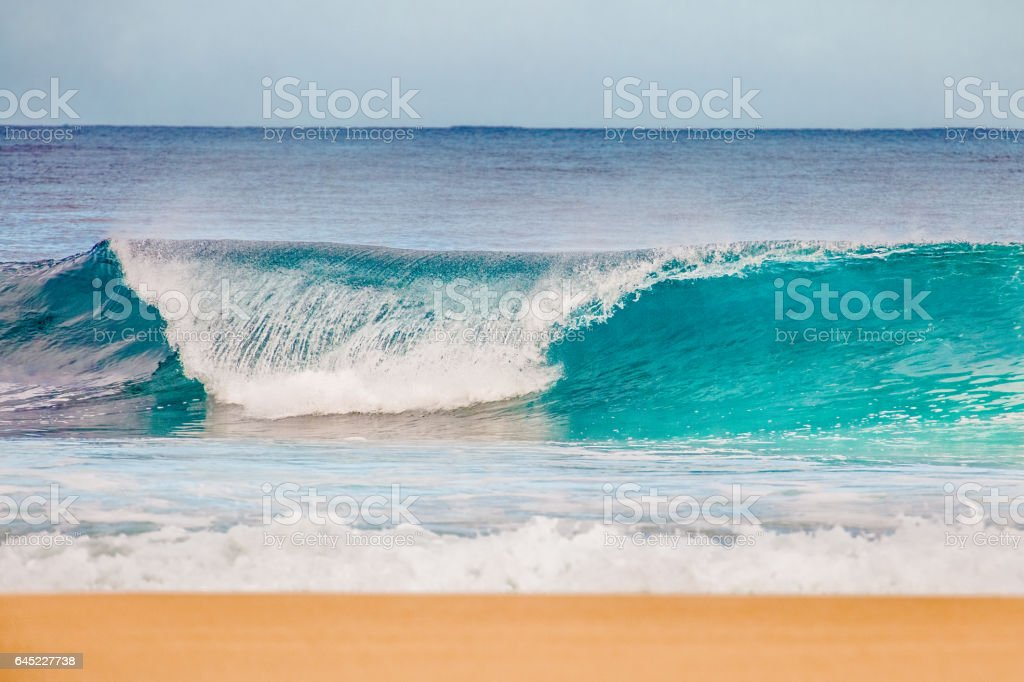 Surf at Bonzai Pipeline on Oahu's North Shore stock photo