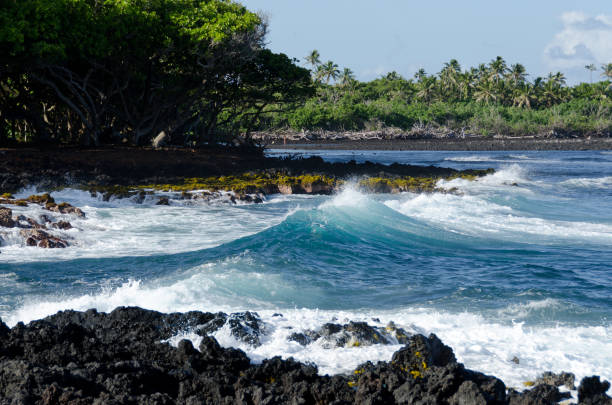Surf at Isaac Hale Park, Puna, Big Island, Hawaii stock photo