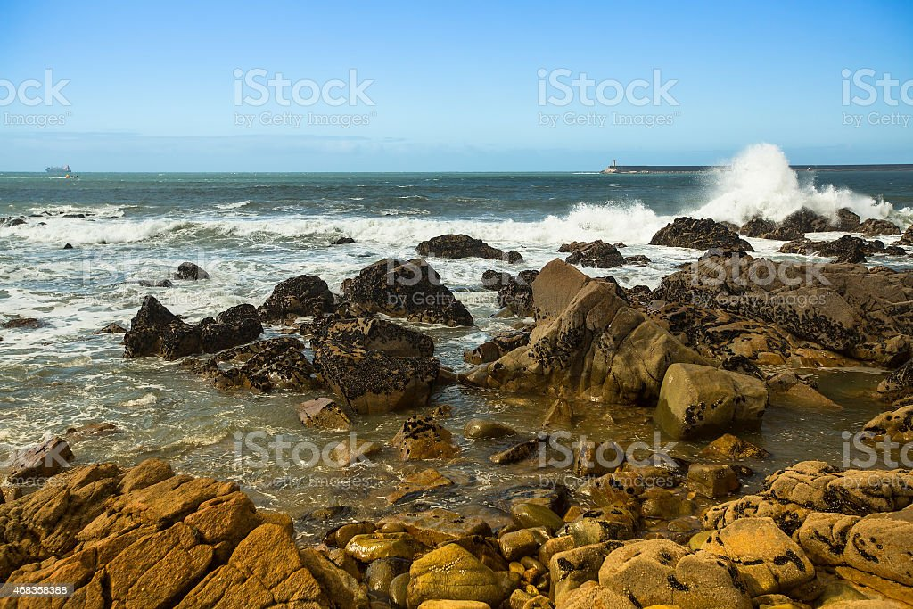 Surf at rocky ocean coast. Atlantic ocean, Portugal. royalty-free stock photo