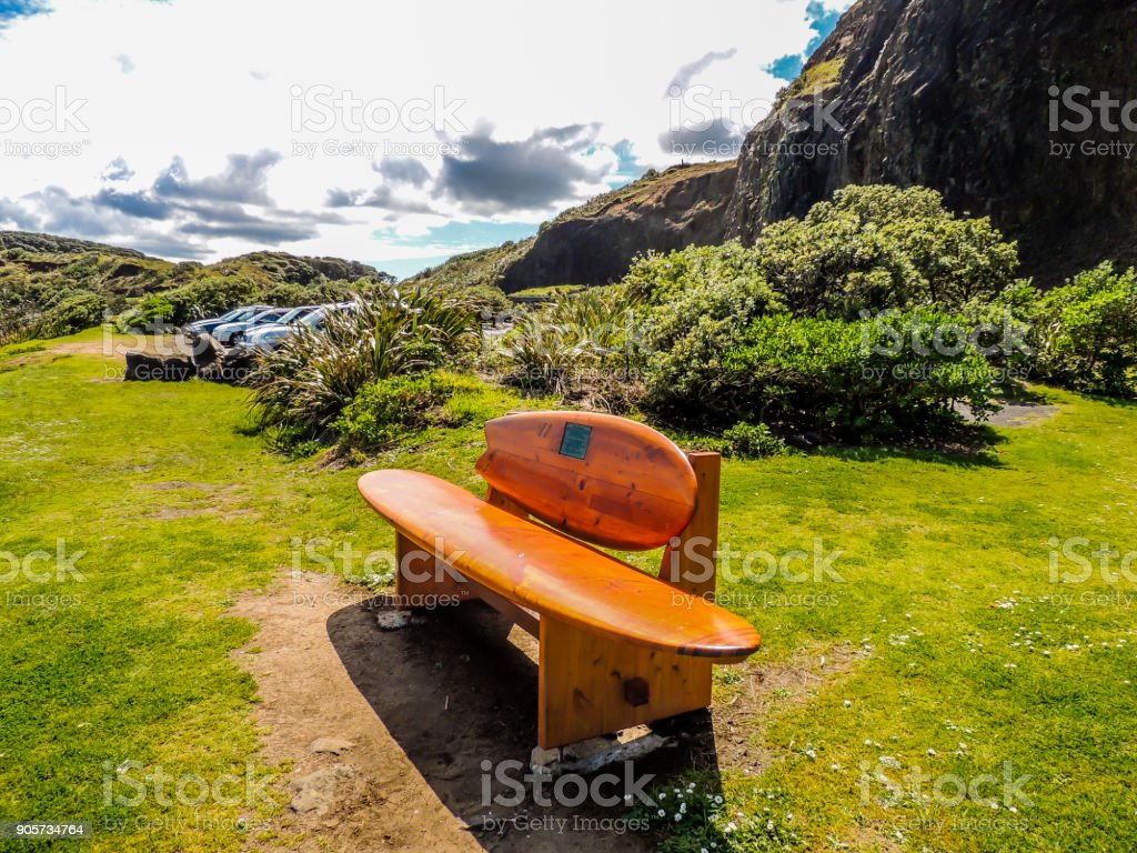 Surf board bench, Muriwai Beach, Auckland, New Zealand stock photo