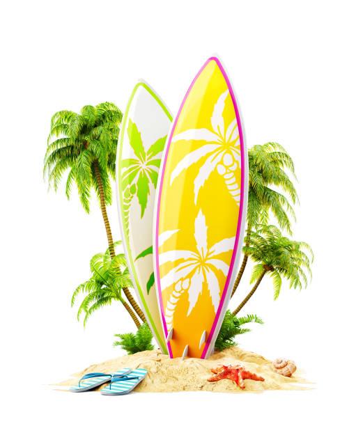 surfbretter auf paradiesischer insel - digital surfer stock-fotos und bilder