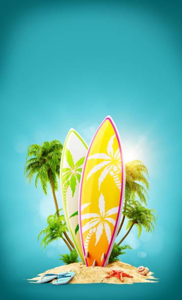 Surfbretter auf Paradise island – Foto