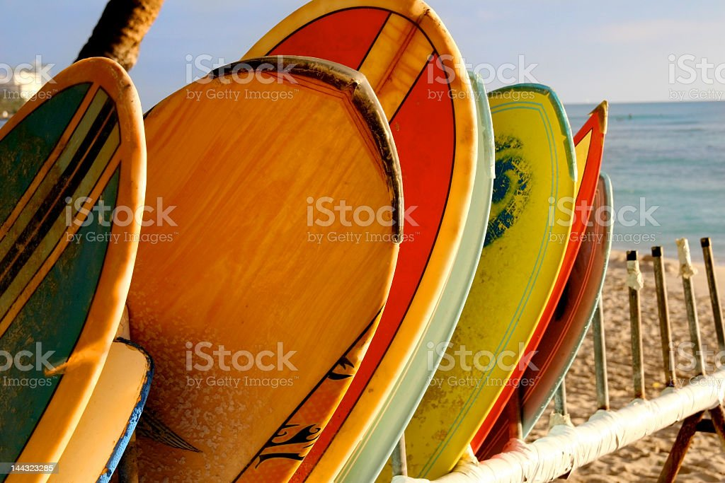 Surf Boards Rack Waikiki stock photo
