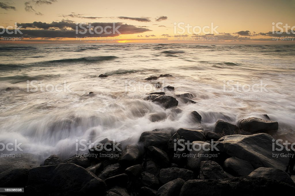 Surf Crashing to Shore Hawaii stock photo