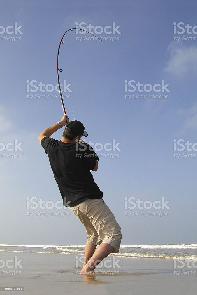 Surf fishing royalty-free stock photo
