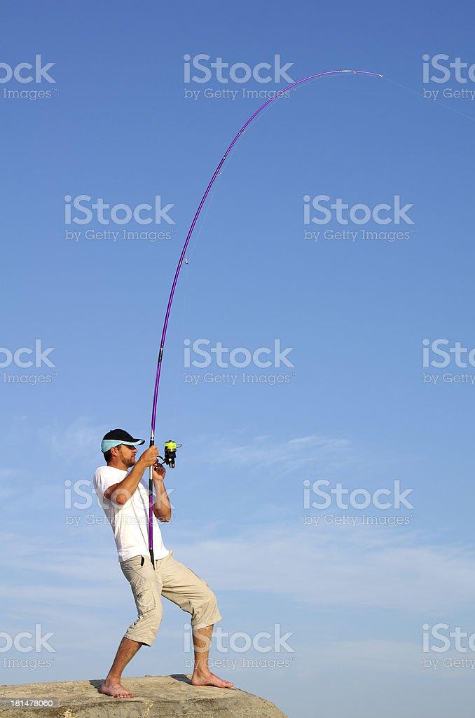 Surf fishing royalty-free stock photo
