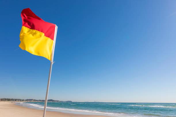 Surf Lifesaving flag on the Gold Coast Australia stock photo