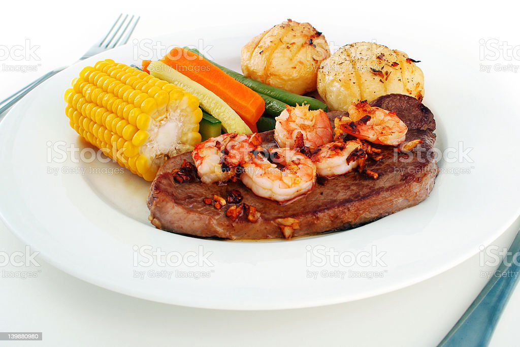 Surf n' Turf meal setting royalty-free stock photo