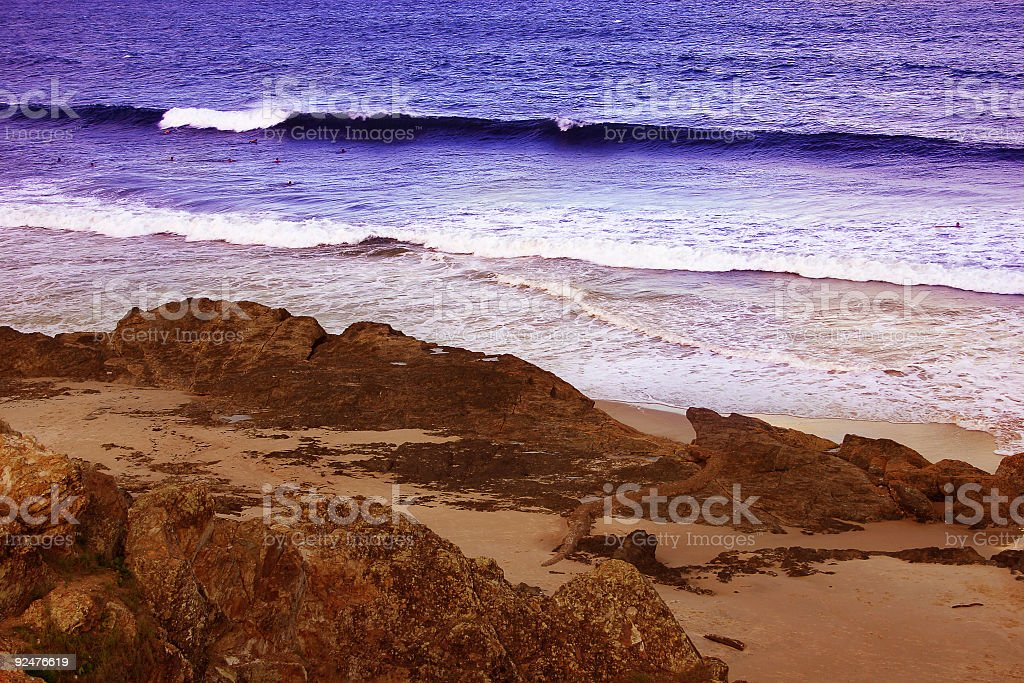 Surf off the Rocks royalty-free stock photo