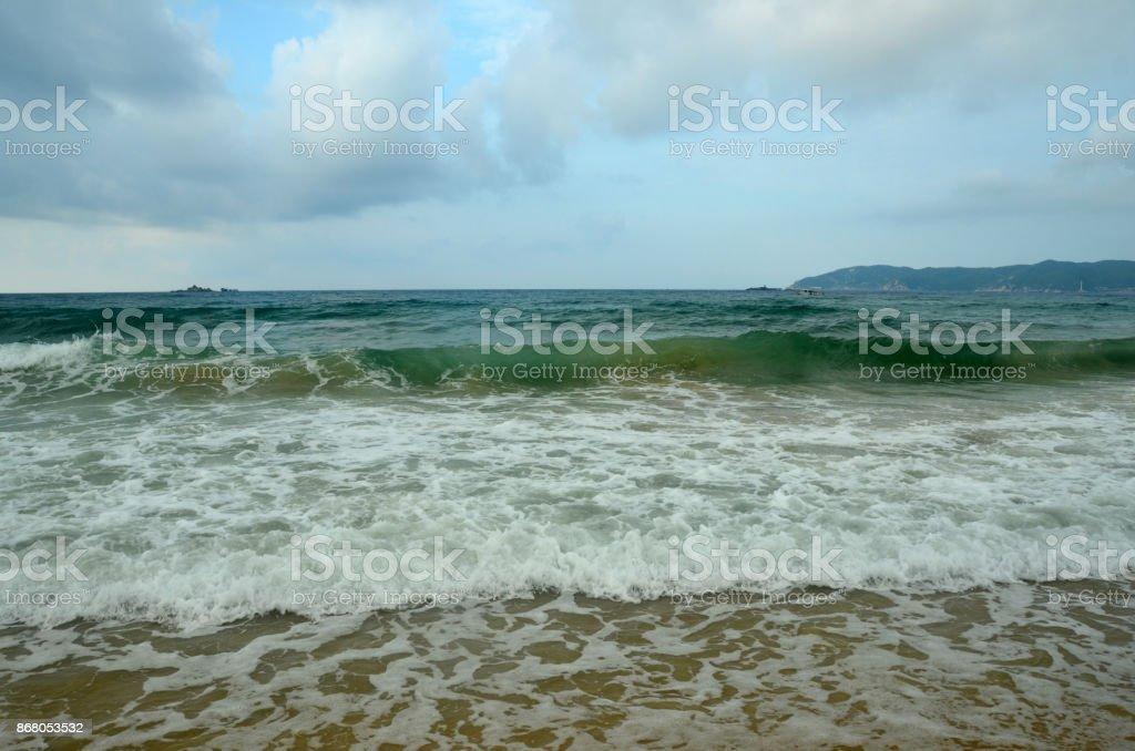 Surf on Hainan Island, China, Sanya, Yaluvan Bay, may 2011 stock photo