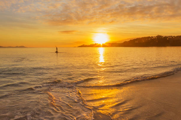 Surf on the beach at sunset stock photo