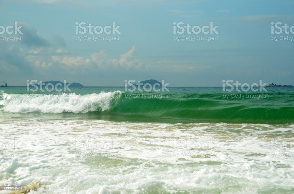 Surf on Yalong bay, Hainan Island, China, may 2011 stock photo