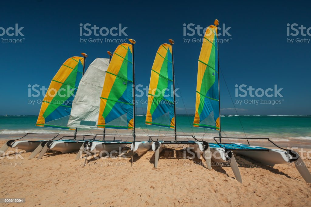 Surf or Sailboat on a clear and sunny day beside the Caribbean sea. Taken at Bavaro, Dominican Republic. stock photo