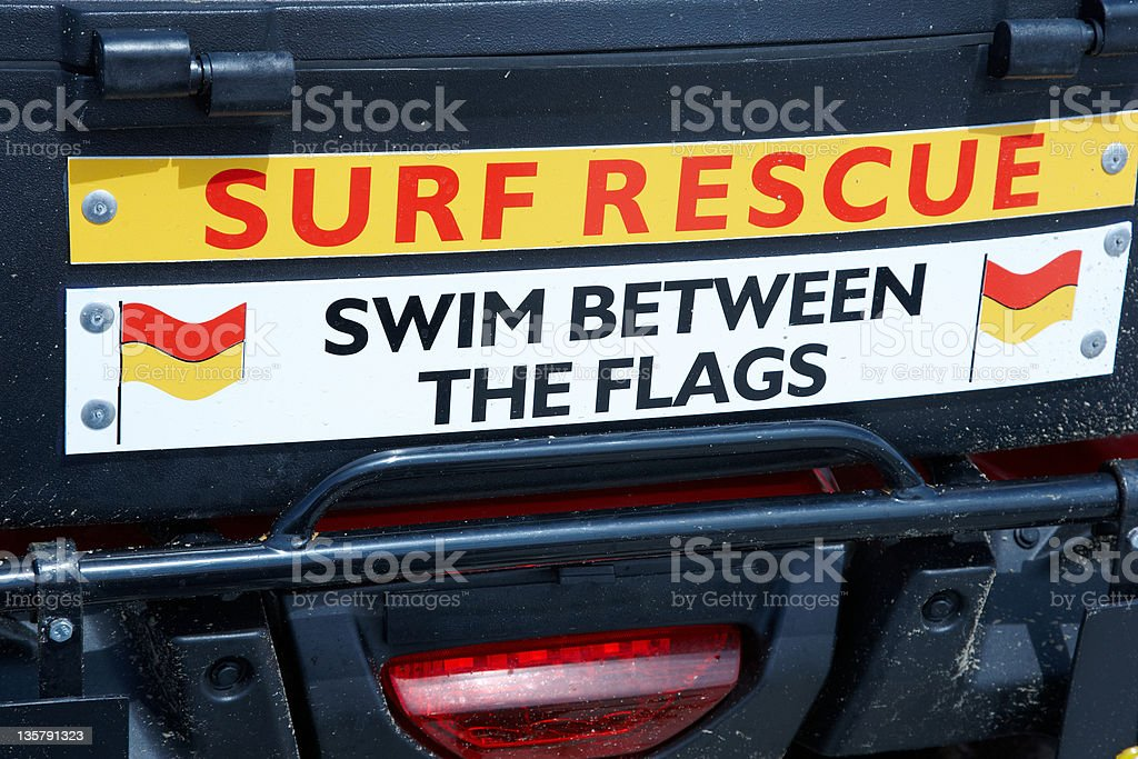 Surf rescue dinghy mounted on trailer royalty-free stock photo