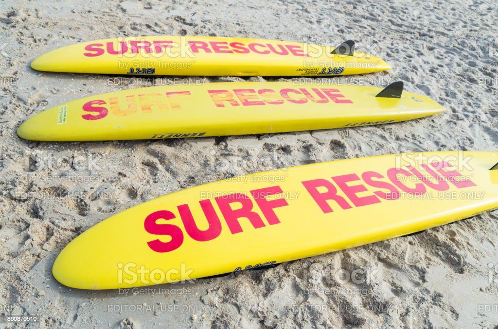Surf Rescue surfboards on Aspendale Beach in Melbourne, Australia stock photo