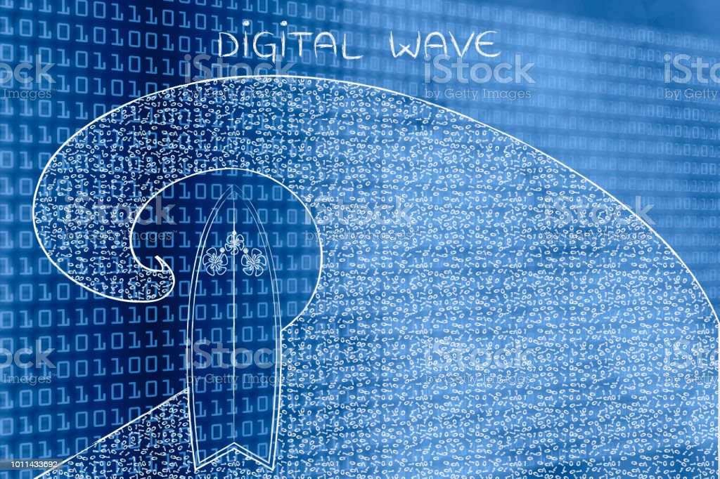 surf the web digital wave with surfboard stock photo