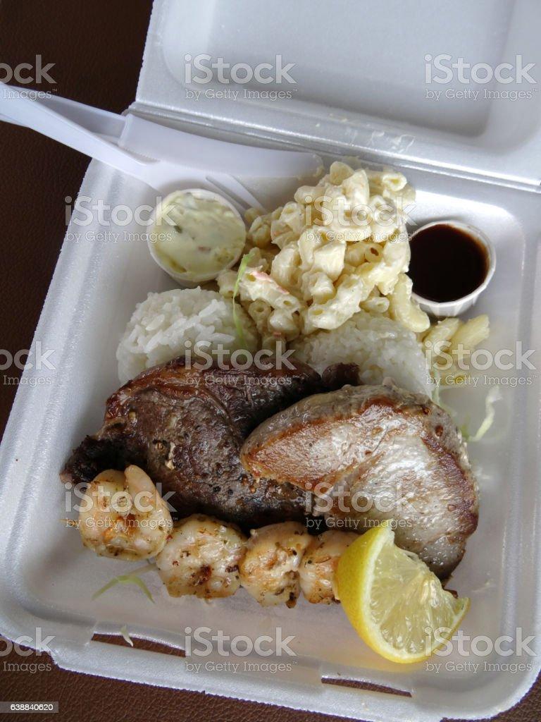 Surf & Turf Includes: Ahi, Steak, Shrimp, rice, and stock photo