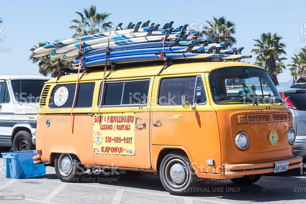 Surf VW vintage minivan stock photo