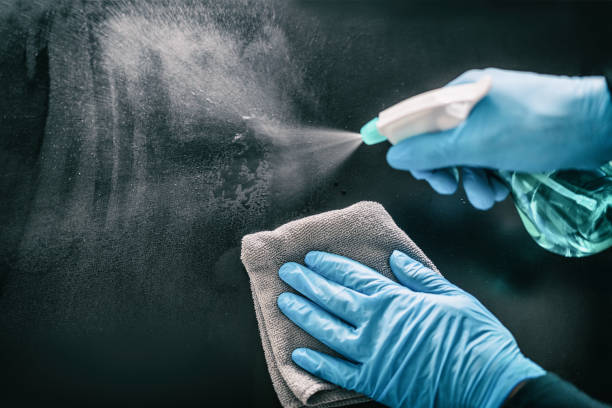 Surface home cleaning spraying antibacterial sanitizing spray bottle disinfecting against COVID-19 spreading wearing medical blue gloves. Sanitize surfaces prevention in hospitals and public spaces stock photo