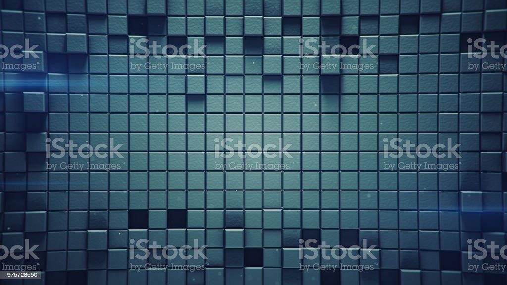 Oberfläche des blauen 3D Würfel und Licht Fackeln - Lizenzfrei Abstrakt Stock-Foto