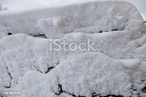 istock Surface of car is covered with snow 1061862526