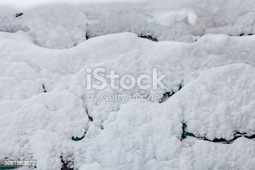 istock Surface of car is covered with snow 1061863572