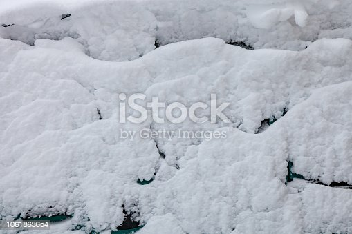istock Surface of car is covered with snow 1061863654