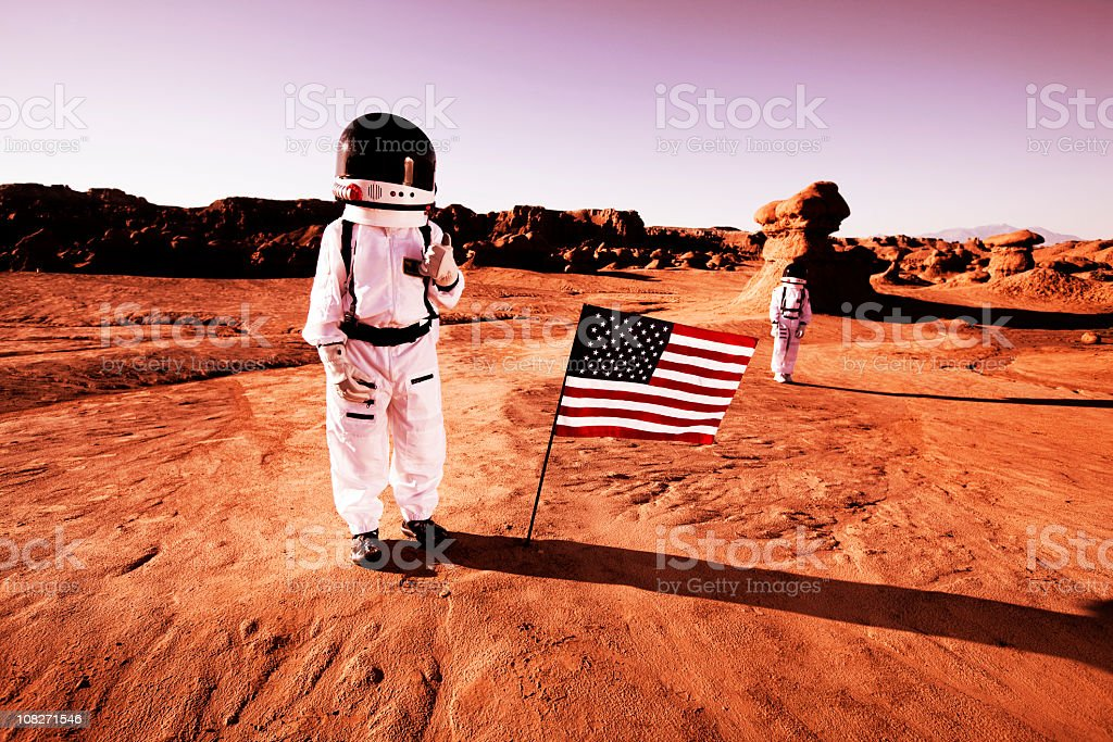 Surface of Mars stock photo