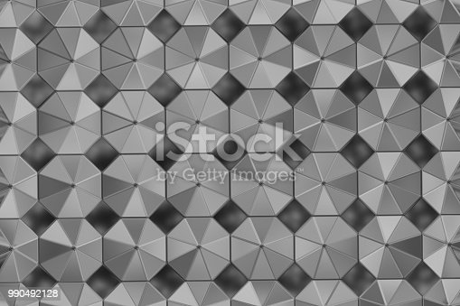 537816275 istock photo Surface of steel octagons. Top view. Abstract industrial background 990492128