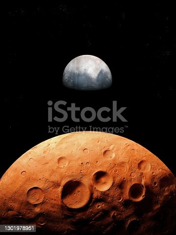istock surface of the red planet covered with craters, planetary satellite, space landscape. 1301978951