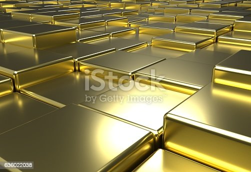 istock surface of uneven golden tiles brick or cubes, 3d illustration 636022038