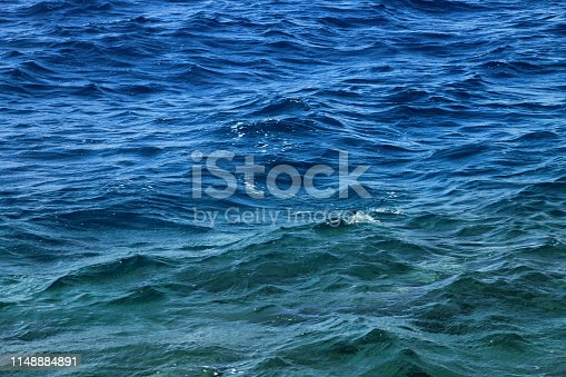 istock Surface of wavy ocean background 1148884891