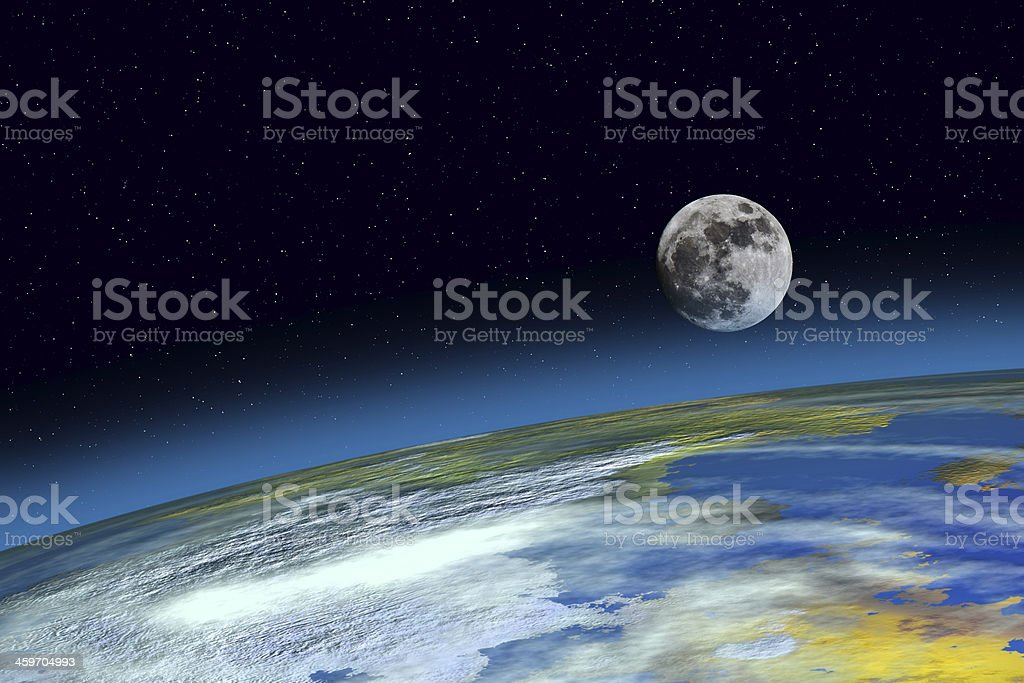 Surface Planet Earth and Moon royalty-free stock photo