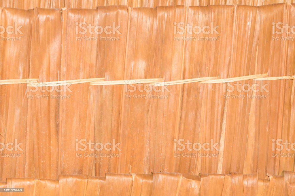 surface thatch roof leaf vintage style ancient background with copy space add text stock photo