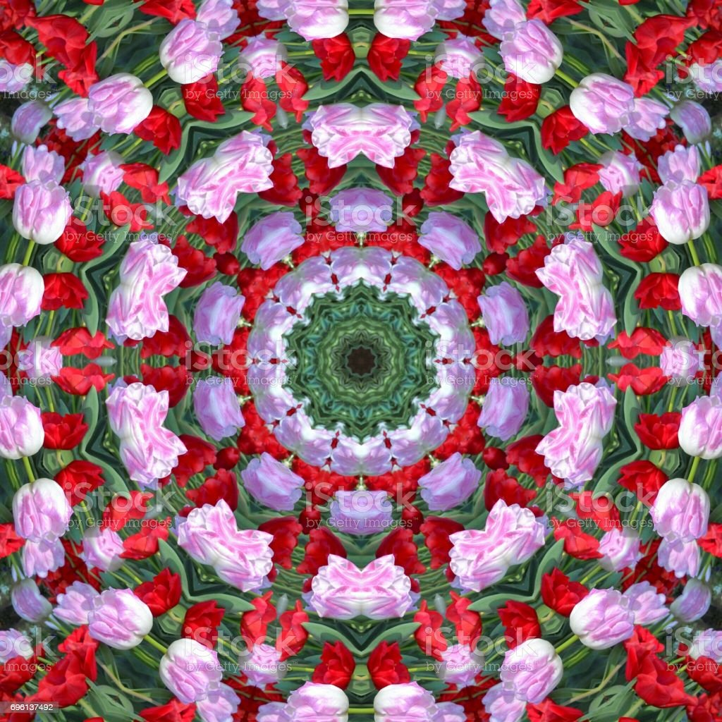 surface Tulips kaleidoscope Pattern,For scrapbook, wallpaper, cases for smartphones, web background, print, surface texture, pillows, towels, linens, bags, T-shirts,ceramic,page stock photo