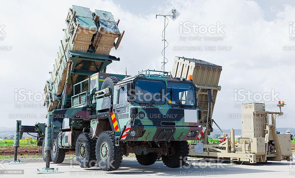 Surface-to-air missile parked at Ramat David Israeli Air Force Base stock photo
