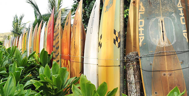 Surfboard fence Maui with aloha in front stock photo