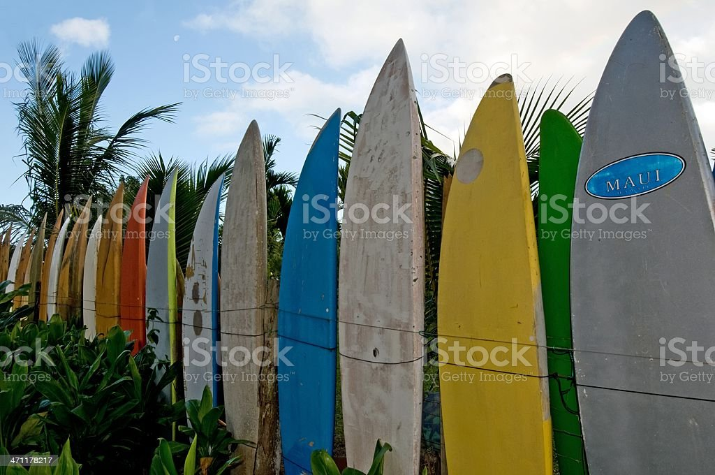 Surfboard fence royalty-free stock photo