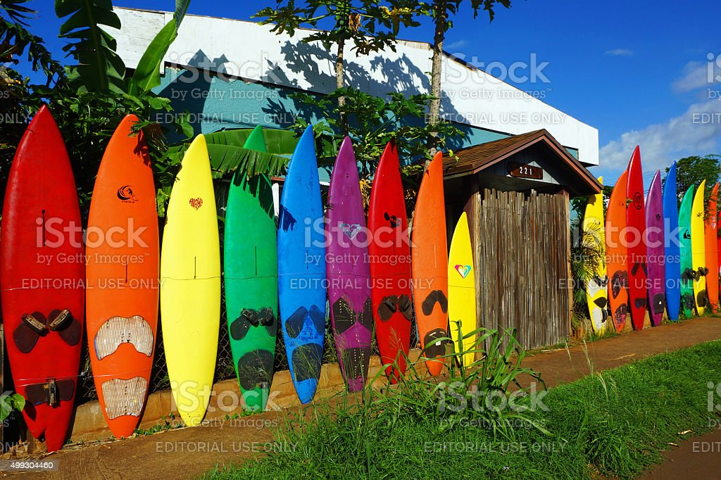 Surfboard Fence stock photo