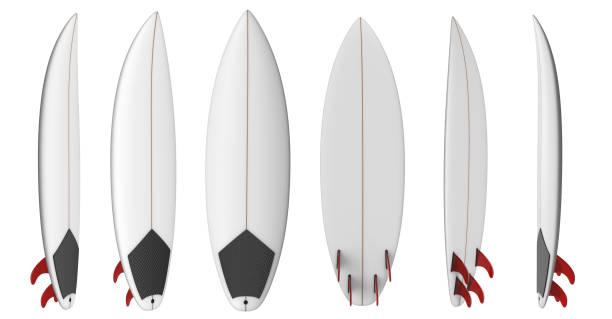surfbrett zum wellenreiten mit roten flossen - digital surfer stock-fotos und bilder
