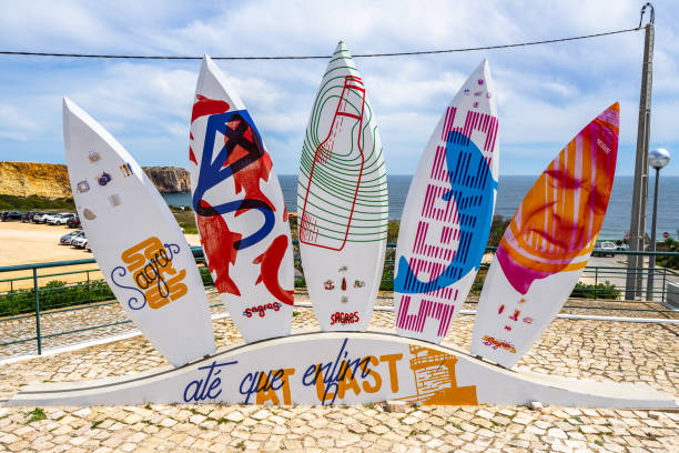 Surfboard monument in Sagres, a popular destination in Portugal for surf lovers stock photo